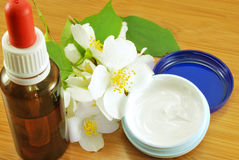 Skin care. Jasmine oil and cream Royalty Free Stock Photos