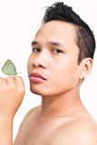 Skin care. Asian Man Model  in Skin Care shot Royalty Free Stock Photos