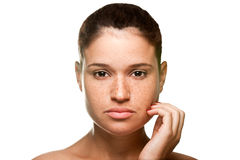 Skin care. Portrait of young woman isolated on white background Stock Photography