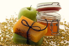 Skin Care. Apple, honey, soap and camomile, products of skin care royalty free stock photos