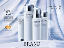 Skin care ads. Luxury cosmetic products isolated on droop style satin in 3d illustration Royalty Free Stock Images