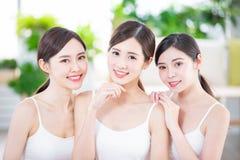 Skin care asian women friend stock photos