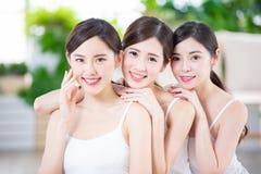 Skin care asian women friend royalty free stock photos