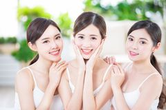 Skin care asian women friend stock images