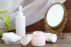 Skin care basic cosmetics. On the table Stock Photo