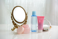 Skin care basic cosmetics. On the table Stock Photography