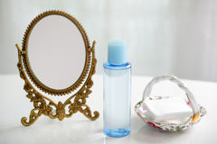 Skin care basic cosmetics. On the table Royalty Free Stock Image