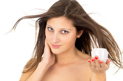 Skin care, beautiful girl with cream Royalty Free Stock Photos