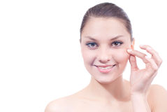 Skin care and beautiful young woman isolated Stock Images