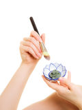 Skin care. Closeup brush and clay mud mask in bowl Royalty Free Stock Photos
