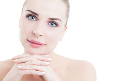 Skin care concept with feminine woman face Royalty Free Stock Photo