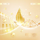 Skin care concept. UV Protection and whitening cream. Golden bubbles with letters over shining background. Vector illustration Royalty Free Stock Images