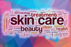 Skin care concept word cloud  on a low poly background Stock Photos