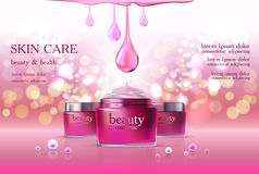 Skin Care Cosmetic. Beauty cosmetic product poster, rink rose cream ads, makeup template, pink skin care cream package or liquid. Sparkling shiny glitter Royalty Free Stock Photography