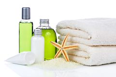 Skin care cosmetics and towels Royalty Free Stock Image