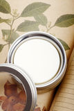 Skin care cream. Pure natural plant skin care cream on the book Stock Image