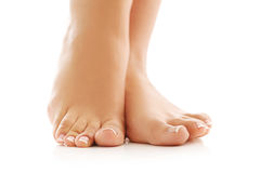 Skin care. Feet in close-up Stock Image