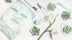 Skin care flat lay with facial sheet mask, mist spray bottle , succulents and orchid flowers on white desktop background, top view royalty free stock photos