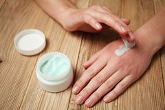 Skin care, hand cream. Redness, allergies, irritation stock image