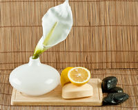Skin care items. A decorative display of skin care items including natural soap, lemons, black spa stones and a peace flower blossom Stock Image