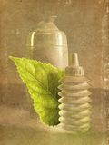 Skin care- natural. Still life with leaf and beauty products in sepia tones royalty free stock photography