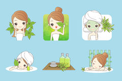 Skin care for organic cosmetic. Cartoon girl care her face with green leaf , concept for skin care or organic cosmetics , beauty wellness concept Royalty Free Stock Photos