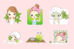 Skin care for organic cosmetic. Cartoon girl care her face with green leaf , concept for skin care or organic cosmetics , beauty wellness concept Stock Image