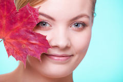 Skin care. Portrait of young woman girl with red m Royalty Free Stock Images