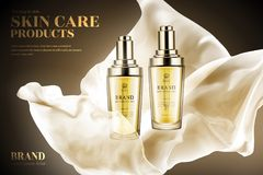 Skin care product ads. Droplet bottles with flying light chiffon in 3d illustration Royalty Free Stock Photography