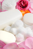 Skin care products. Composition of beauty and cleaning products with rose petals royalty free stock photography