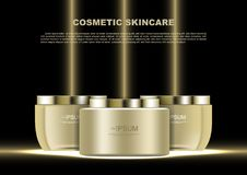 Skin care products with golden beams on black background vector Stock Photo