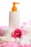Skin care products isolated. Natural beauty products with rose petals isolated over white stock photography