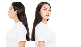 Skin care. Profile portrait collage of Brunette asian girl with long and shiny straight female hair isolated on white background royalty free stock photography