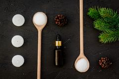 Skin care and relax. Cosmetics and aromatherapy concept. Pine spa salt, oil, spruce branch and pinecones on black Royalty Free Stock Images