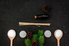 Skin care and relax. Cosmetics and aromatherapy concept. Pine spa salt, oil, spruce branch and pinecones on black Royalty Free Stock Photo