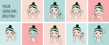 Skin care routine, woman face with a different facial procedures banner. Skin care routine, simple woman face with a different facial procedures banner Stock Photo