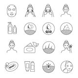 Skin care vector icons. Prevention of aging and eliminating of wrinkle pictograms Stock Photo
