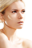 Skin care, visage & cosmetic. Make-up base tone Royalty Free Stock Image