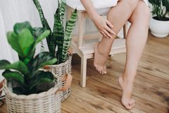 Skin care and wellness concept. Young woman in white towel sitting in bathroom with green plants and massaging legs. Legs soft. Skin after shaving close up royalty free stock photo