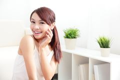 Skin care woman happy hand touch her face Stock Image