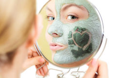Skin Care. Woman In Clay Mud Mask On Face. Beauty. Stock Photo