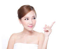 Skin care Woman look to empty copy space. Beautiful Young Skin care Woman look to empty copy space isolated on white background, asian Stock Photo