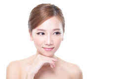Skin care Woman look to empty copy space. Beautiful Young Skin care Woman look to empty copy space isolated on white background, asian Royalty Free Stock Photography