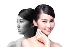 Skin Care woman after and before Royalty Free Stock Image