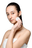 Skin care woman removing face with cotton swab pad Royalty Free Stock Photos