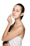 Skin care woman removing face with cotton swab pad Royalty Free Stock Photography
