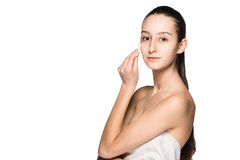 Skin care woman removing face with cotton swab pad Stock Images