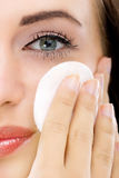 Skin care woman removing makeup,close up Stock Image