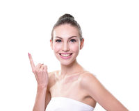 Skin care woman showing Royalty Free Stock Photo