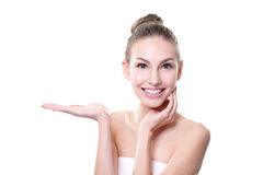 Skin care woman showing copy space Stock Photos